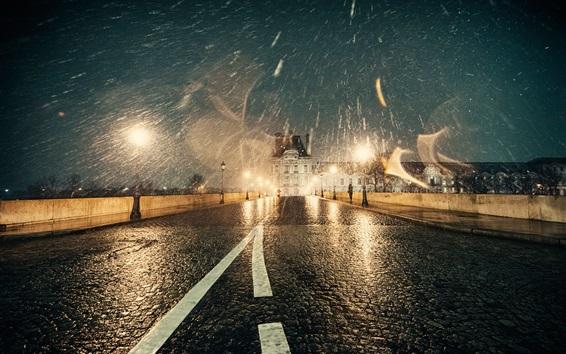 Wallpaper France, Paris, winter, snow, night, road, lights, wet