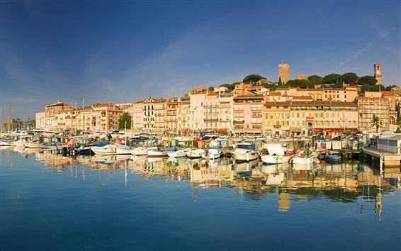 Wallpaper France, city, houses, river, boats