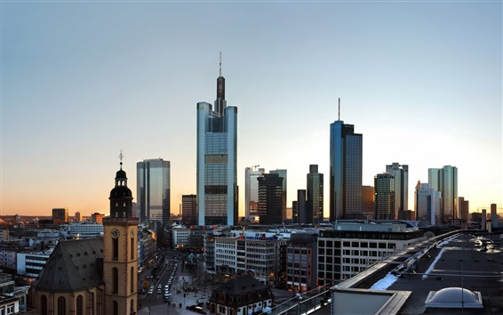 Wallpaper Frankfurt, Germany, city, skyscrapers, roads, dusk