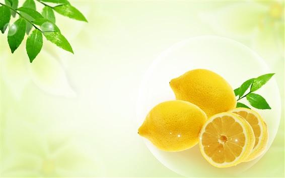 Обои Свежий лимон, зеленые листья