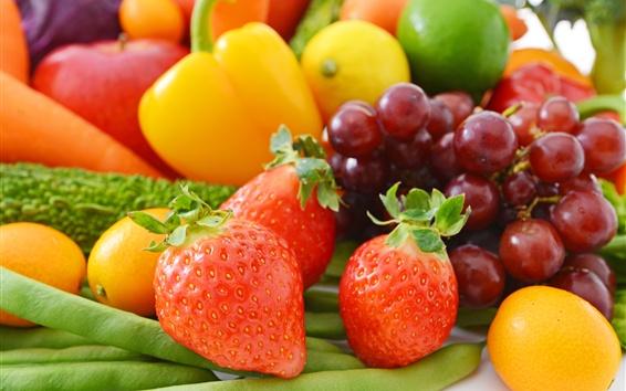 Papéis de Parede Frutas e vegetais, uvas, morango, laranja, chili, feijão