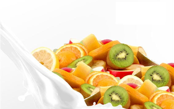 Wallpaper Fruit slices in milk