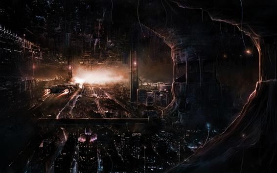 Fondos de pantalla Ciudad del futuro, nave espacial, rascacielos, luces, cuadro de arte