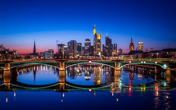Fondos de pantalla Alemania, fráncfort, ciudad, noche, puente, río, agua, reflexión