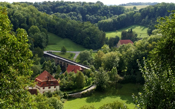 Wallpaper Germany, Rothenburg, trees, grass, road, houses, countryside