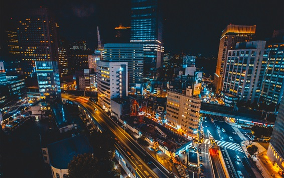 Wallpaper Ginza district, Japan, skyscrapers, roads, night, lights