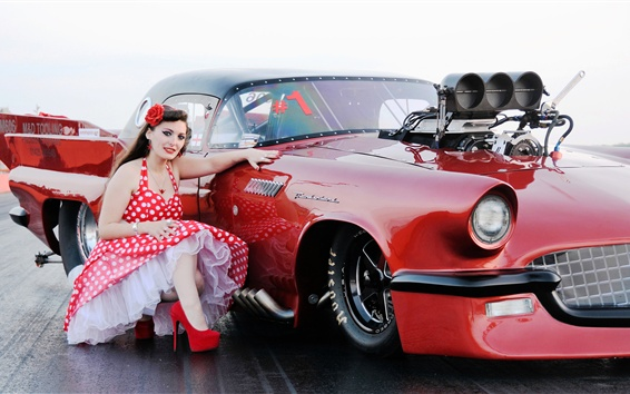 Wallpaper Girl and red sports car, retro style