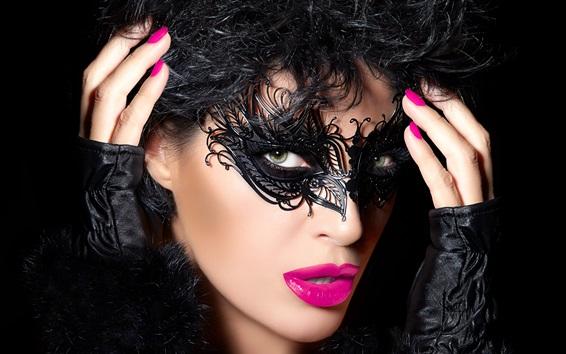 Papéis de Parede Rosto menina, máscara, estilo preto