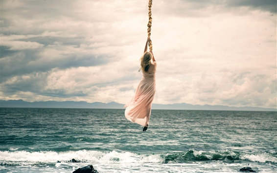 Wallpaper Girl flight with long braid, clouds, sea, art photography