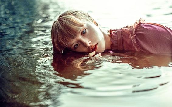 Wallpaper Girl in water, waves