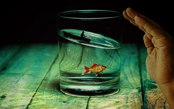 Wallpaper Glass cup, fish, boat, fishing, fisher, creative