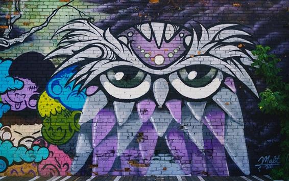 Fond d'écran Mur de Graffiti, hibou, dessin artistique