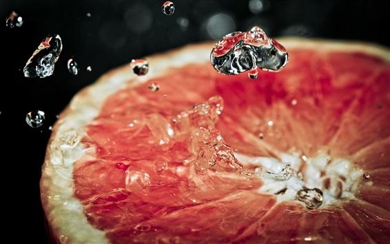 Обои Грейпфрут разрезать ломтик, всплеск воды