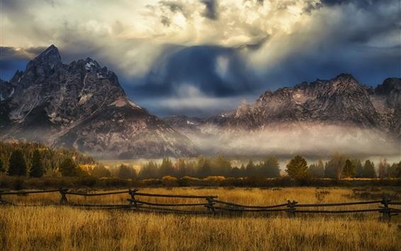 Wallpaper Grass, fence, mountains, clouds, autumn
