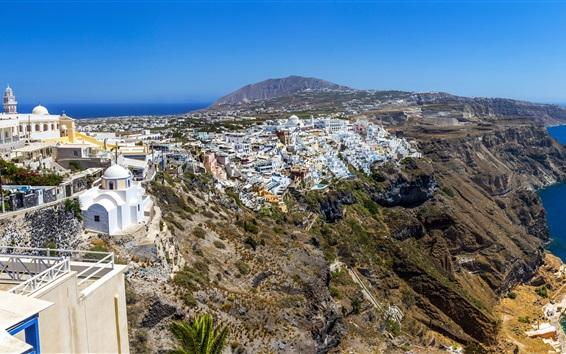 Papéis de Parede Grécia, Santorini, cidade, casas, costa, mar, céu, pedras