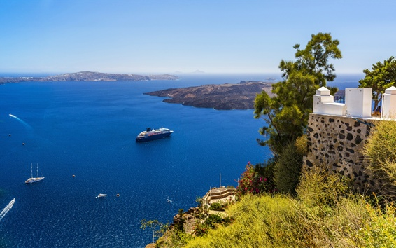 Fond d'écran Grèce, Santorin, côte, yachts, mer bleue