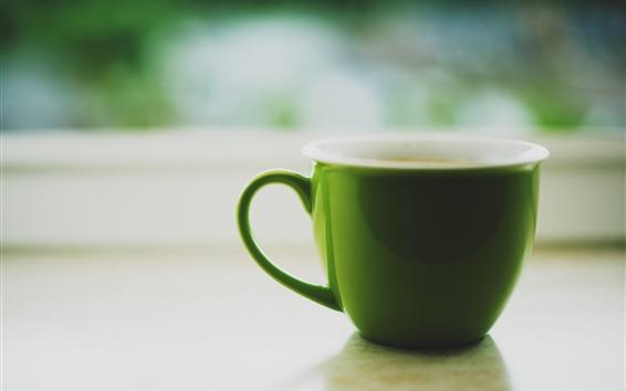 壁紙 グリーンカップ、紅茶