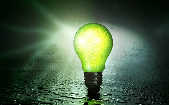 Wallpaper Green lamp lighting, water drops, rain
