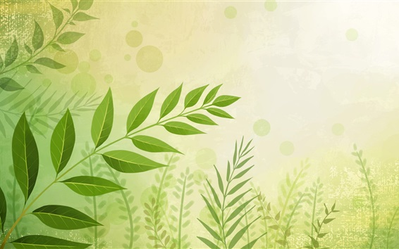 Wallpaper Green leaves, twigs, vector background