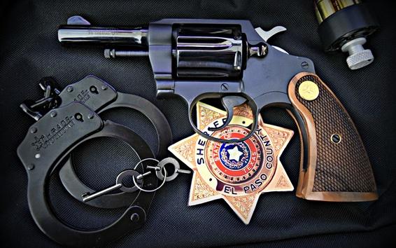 Fond d'écran Arme à feu, police, icône, menottes