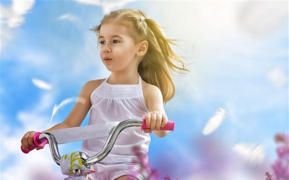 배경 화면 행복한 아이, 금발의 어린 소녀, 자전거 타기