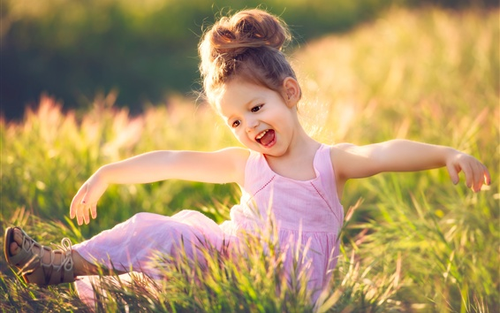 Wallpaper Happy child girl, grass, summer