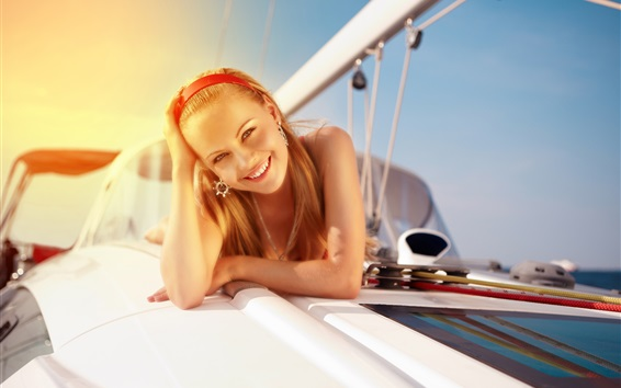 Wallpaper Happy girl, smile, yacht, sunshine