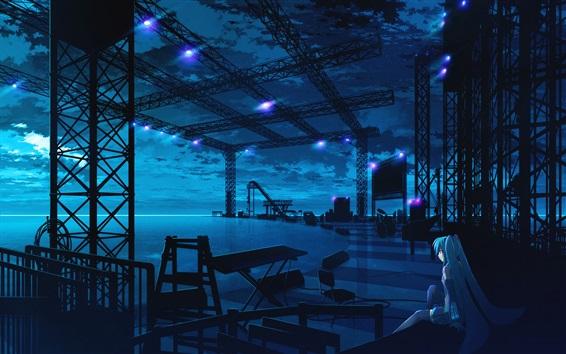 Wallpaper Hatsune Miku, stage, blue hair girl