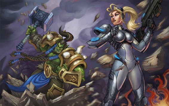 Wallpaper Heroes of the Storm, blonde girl, warrior