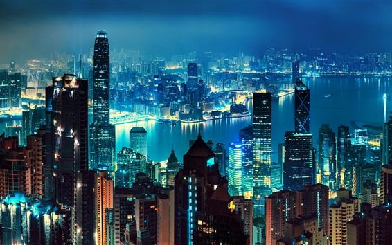 Wallpaper Hong Kong, skyscrapers, panorama, megapolis, night, lights