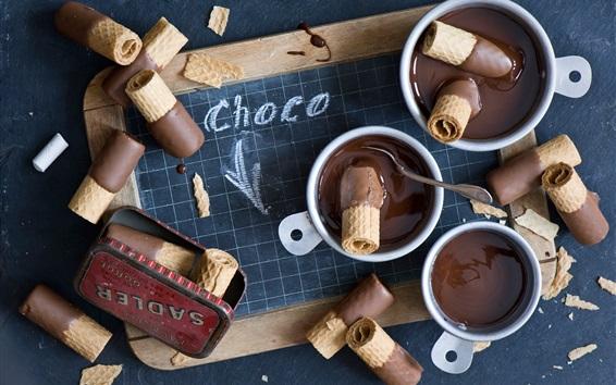 Wallpaper Hot chocolate, waffles, dessert