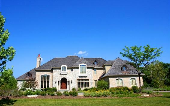 Wallpaper House, mansion, bushes, blue sky