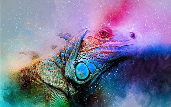 Fond d'écran Iguana art edit, colorful