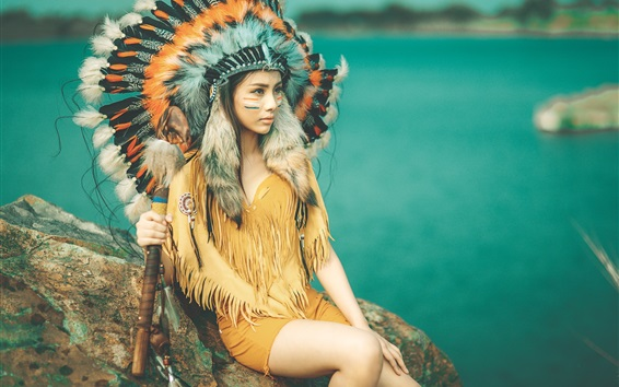 Wallpaper Indian girl, face, feathers, headdress