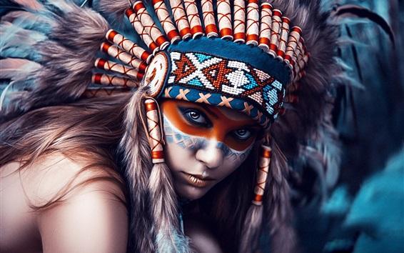 Fondos de pantalla Indios niña, cabeza decoración, maquillaje