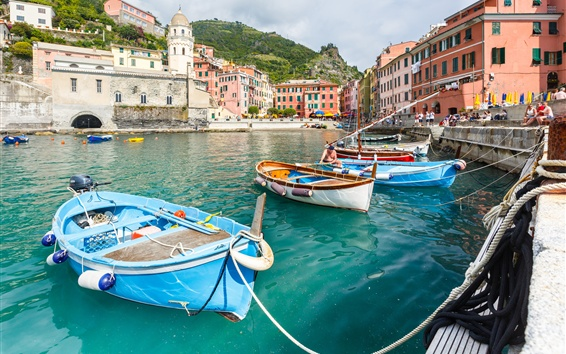 Wallpaper Italy, Cinque Terre, Vernazza, mountains, boats, people, Ligurian coast