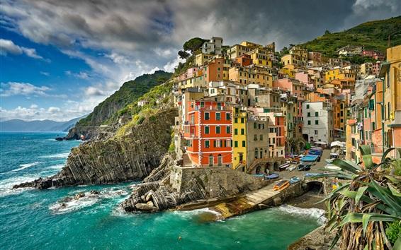 Papéis de Parede Itália, mar da Ligúria, Riomaggiore, Cinque Terre, mar, costa, cidade