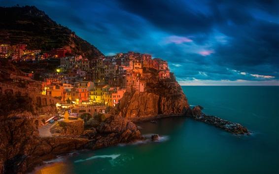 Papéis de Parede Itália, Manarola, Cinque Terre, mar, noite, luzes