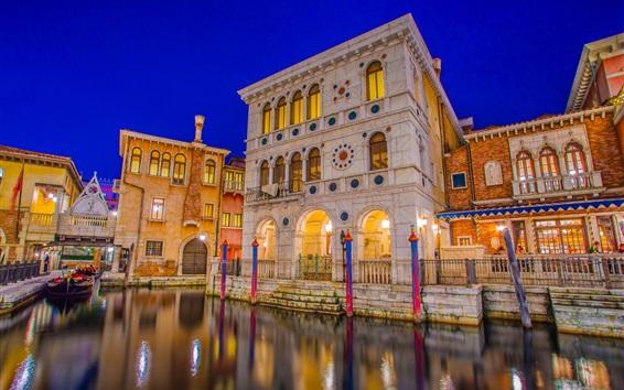 Fondos de pantalla Japón, Tokio DisneySea, Urayasu, Venecia, parque de diversiones, noche, luces