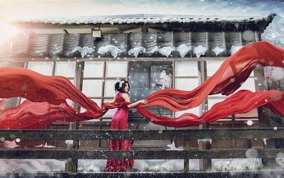 배경 화면 일본 여자, 겨울, 눈, 빨간 드레스, 리본