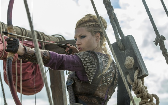 Fondos de pantalla Katheryn Winnick, flecha, arco, Vikings, serie de TV caliente