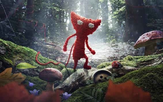 壁紙 ニット、赤い猫、ミツバチ、森、創造的なデザイン