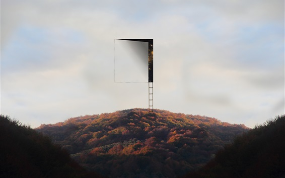 Wallpaper Ladder, sky, door, mountains, creative picture