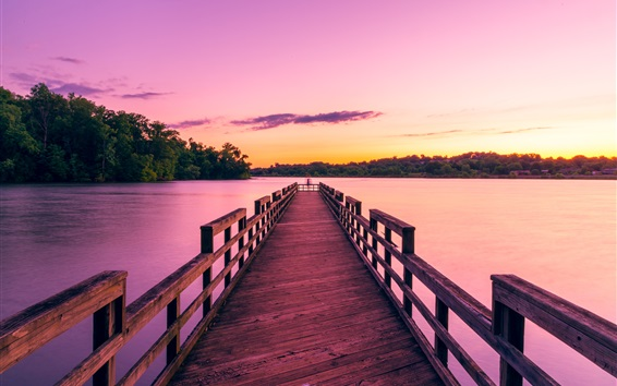 Wallpaper Lake, pier, trees, sunset, sky