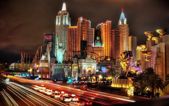 Wallpaper Las Vegas, city, night, skyscrapers, lights, USA