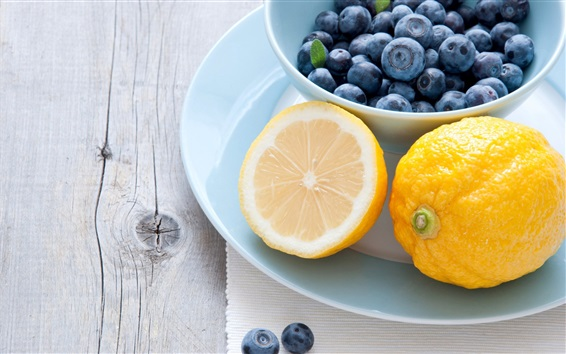 Wallpaper Lemon and blueberries
