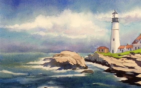 壁紙 灯台、海、海岸、水彩画