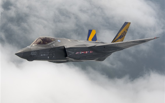 Wallpaper Lightning II F-35C bomber flight