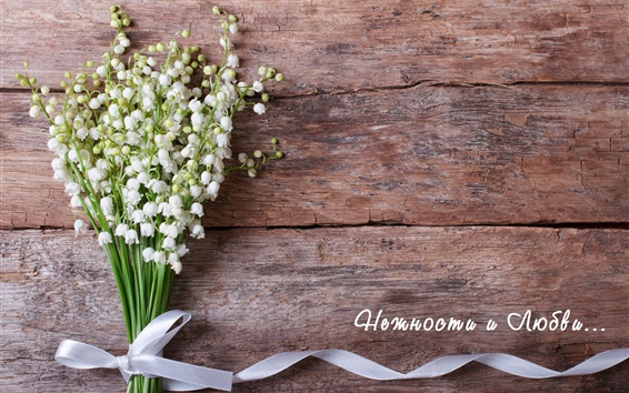 Wallpaper Lilies of the valley, white flowers, bouquet, ribbon