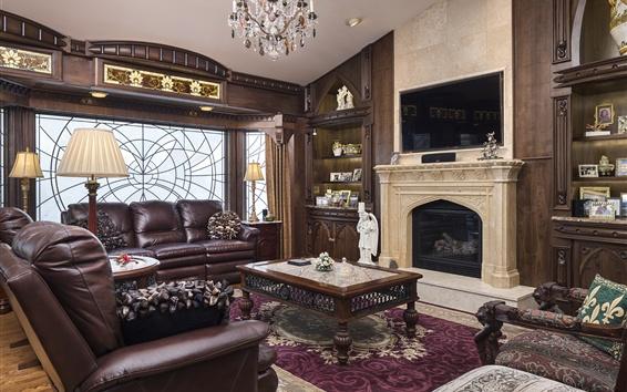 Fond d'écran Salon, table, chaise, lampe, tapis, cheminée